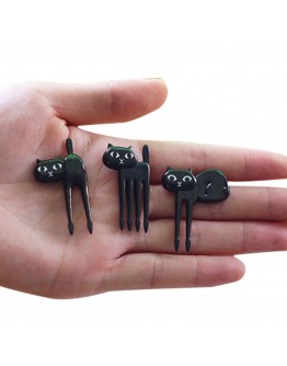 Fruits fork creative black cat 6pcs