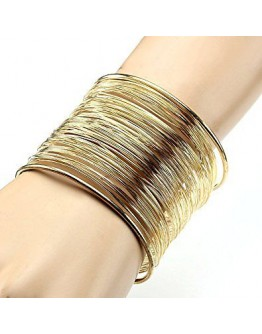 Women wristband metal golden multilayer strings adjustable bangle