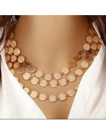 Women necklace gold beautiful multilayered coin chain
