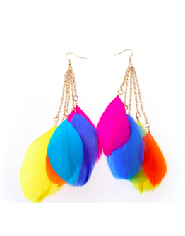 Women earring new bohemian handmade feather long earing
