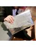 Women  wallet serpentine silver envelop handbag