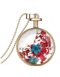 Women real dried flower pendant necklace chain
