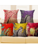 Cushion Cover Vintage Flower Mural Tree Decorative Pillow Case