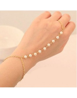 Women's classy Pearl Bracelet Bangle with Attached finger Chain