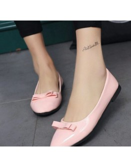 Women pink classy bow knot flats casual belly shoes