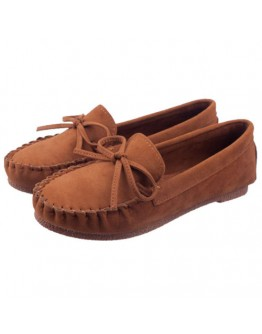 Women shoes suede bowknot classy comfy brown flat belly