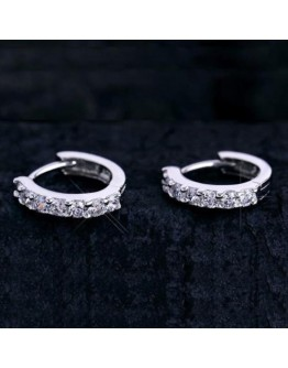 Women silver earring simple elegant diamond Hoop earring