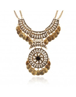 Women necklace royal vintage double chain coin necklace