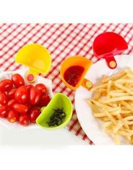 Kitchen Tool 4pcs Assorted Salad Saucer Ketchup Jam Dip Clip Cup Bowl