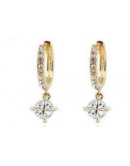 Women earrings silver gold crystal circle drop