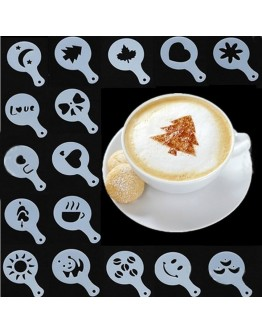 16pcs Latte Templates Cappuccino Coffee DIY Cake Stencil Supplies Kitchen tool