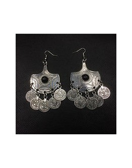 Women vintage coin hook dangle big hanging earring