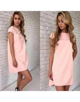 Women Dresses Short Sleeve Solid Color Party Night Club Round Neck Slim Dress