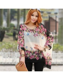 Women Top Oversized Batwing Dolman Sleeve Floral Chiffon loose Shirt