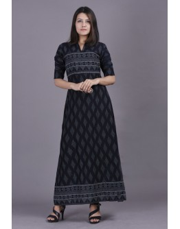 Women Premium Cotton Printed Long A Line Kurti