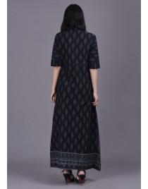 Women Premium Cotton Printed Long A Line Kurti