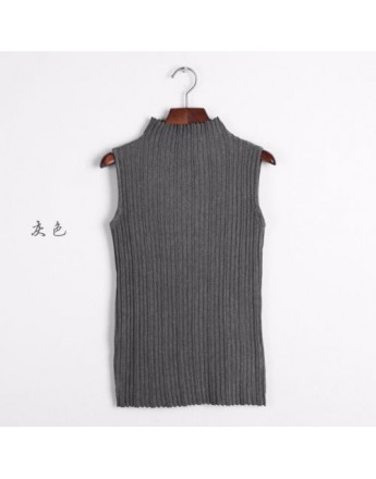 Women high quality Sleeveless Green Turtleneck Knitted Tank top Shirt