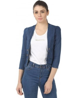 Denim Solid Western Women Shrug