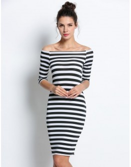 Women Dresses Fashion Straight Summer Stripes Ladies Casual Round Neck Slim Fit