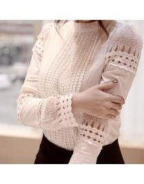 Women White Tops Casual Lace Blouse Hollow out Shirt