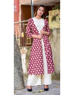 Women Kurti Premium quality Rayon + Cotton 3pcs Shrug, Top, bottom wear Kurta