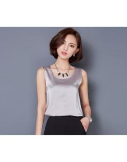 Women Tops Solid color Sleeveless Classy Shiny Silk Rainy Shirt