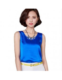 Women Tops Solid color Sleeveless Classy Shiny Silk Rainy Shirt