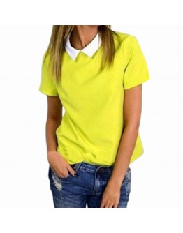 Women Summer Loose Chiffon Solid Blouses Turn Down Collar Short Sleeve Tops