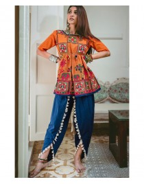 Ladies Orange Mochi Bharat Kedia And Tulip Pant Set