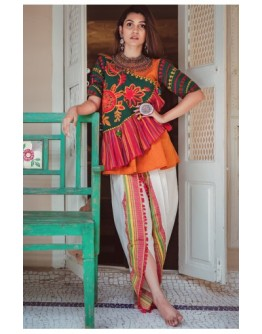 Ladies Deep Green Angarkha Style Kedia And White Tulip Pant With Daman