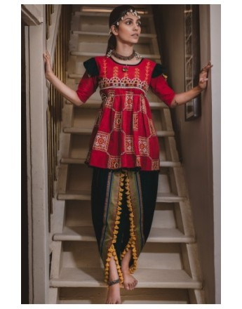 Ladies Red Embroidered Kedia With Black Daman Tulip Pant