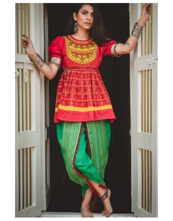Ladies Red Yoke Festive Flairy Embroidered Kedia and Parrot Tulip Pants