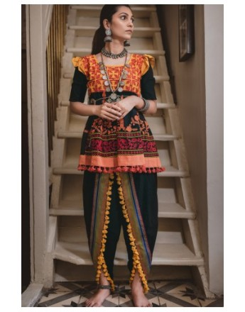 Ladies Embroidered Black Kedia With Black Panel Tulip Pants