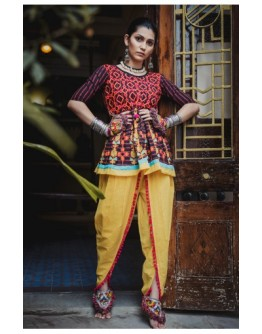 Ladies Embroidered Black Lining Festive Kedia And Lemon Yellow Tulip Pants