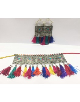 Women Navratri Special Multicolour Necklace earing set