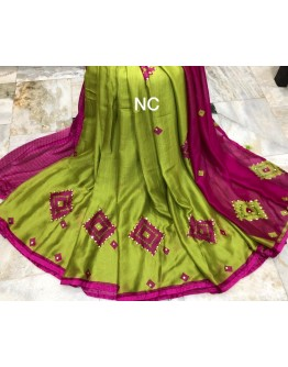 Wrinkle Chiffon Sarees With Mirror Work for Festive season